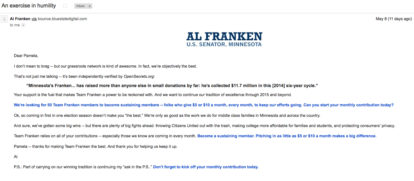 What's in my Inbox | Political fundraising for your swipe file ...