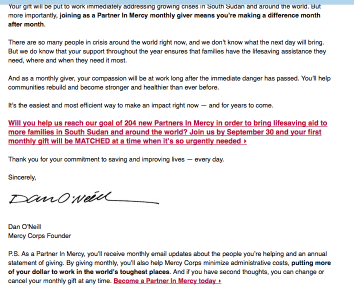 what39s in my inbox mercy corps monthly giving appeal With monthly giving appeal letter