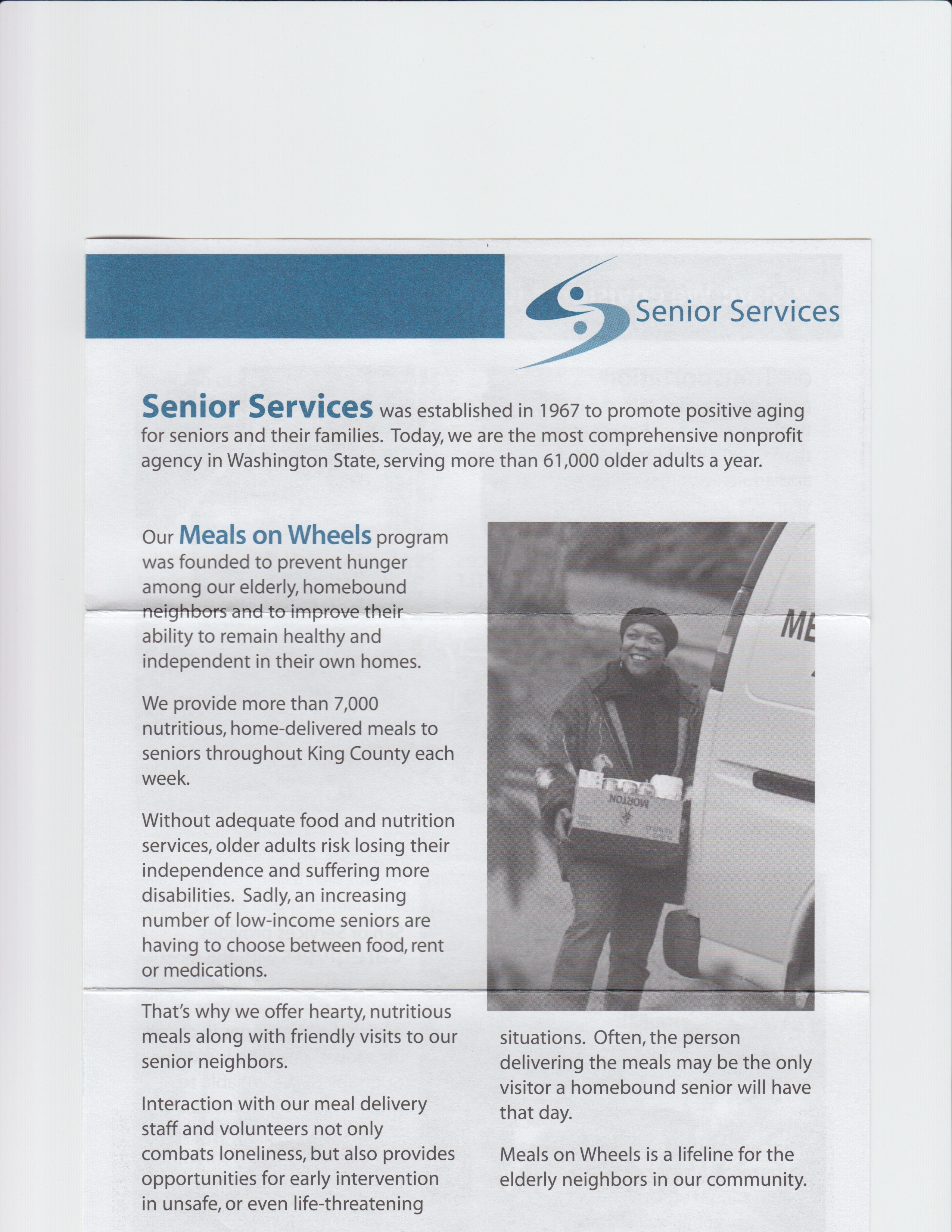 What's in my Mailbox | Senior Services new donor welcome kit